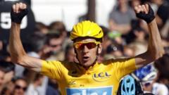 Bradley Wiggins celebrates winning the Tour de France