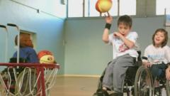 Archie playing wheelchair basketball
