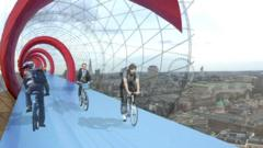 A visualisation of what the cycle lanes in the sky could look like.