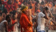 Hindus praying in the river