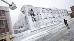 Warehouse covered in ice