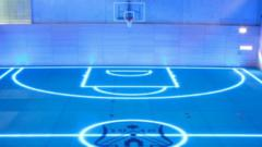 An illuminated gym floor