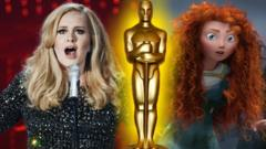 A picture of Adele next to a still from the Disney film Brave with an Oscar statue superimposed.