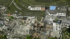 Damaged houses after earthquake in Sichuan, China
