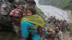 Woman carrying her child to safety