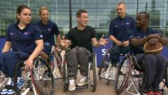 Martin and four wheelchair basketball players
