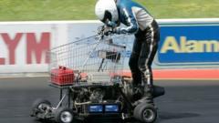 Matt McKeown on his motorised shopping trolley