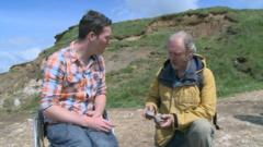 Martin meets a fossil finder on 'Dinosaur Island'.