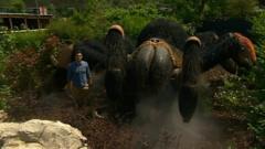Joe with a giant robot tarantula