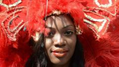Woman in red feather headdress