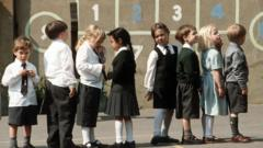 Schoolchildren standing in line