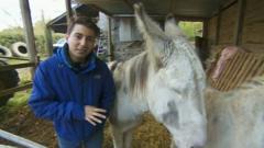 Ricky with a donkey