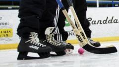 Ice skater playing bandy