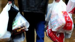 Shopping in plastic bags