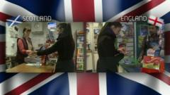 Two images of Nel - one in a shop in Scotland and one in a shop in England