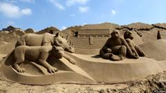 Weston-super-Mare's annual sand sculpture festival has begun and there's some pretty cool designs.