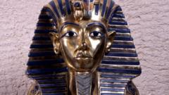 Solid gold burial mask of Tutankhamun
