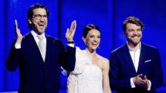 Eurovision hosts Nikolaj, Lise Roenne, and Pilou Asbaek