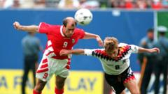 Iordan Letchkov scores for Bulgaria aginst Germany at World Cup 1994.