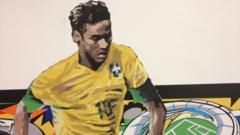 Painting of Brazil's Neymar