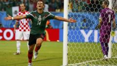 Mexico score a goal at the World Cup