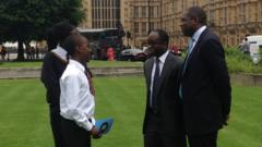 Children speak to politicians outside Westminster