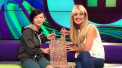 Sian, who made a loom band dress, and Hayley