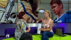 Blue Peter's Lindsay on the Newsround sofa with Hayley