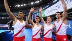 England's Louis Smith, Max Whitlock, Nile Wilson and Kristian Thomas