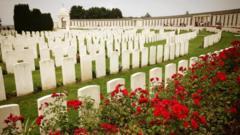 Red rose bushes sit behind rows of gravestones.