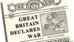 "Newspaper headline illustration ""Great Britain declares war"""