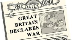 """Newspaper headline illustration """"Great Britain declares war"""""""