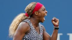 Serena Williams celebrate's her win at the US Open in America.