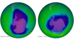 This undated image provided by NASA shows the ozone layer over the years, Sept. 17, 1979, top left, Oct. 7, 1989, top right, Oct. 9, 2006, lower left, and Oct. 1, 2010, lower right