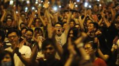 Protesters in Hong Kong, 1 Oct