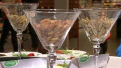 Edible insects in glasses