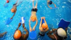 Children swimming