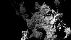 The Philae probe after landing on the 67P comet.