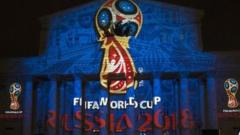 The official logo for the 2018 World Cup is shown off on the facade of the Bolshoi Theatre in Moscow
