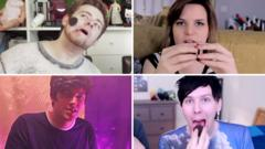 Montage of YouTube stars eating chocolate biscuits
