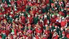 Hundreds of Christmas elves