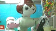 An ice cream serving robot