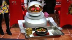 A robot waiter in a restaurant