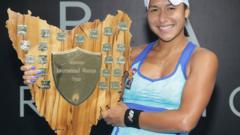 Heather Watson with the Hobart International trophy