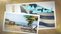 Postcard graphic showing Greek flag and beach