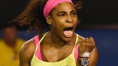 Serena Williams celebrates winning the Australian Open
