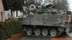 A tank has crashed into a German couple's garden