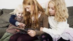 Children using a tablet