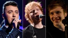 Sam Smith, Ed Sheeran and George Ezra