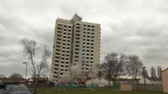 Hull tower block demolition